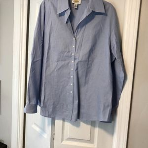 Talbots Womens Sz 18 Button Up Shirt Vneck Long Sl